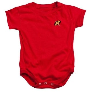 Trevco Batman-Robin Logo - Infant Snapsuit - Red, Small 6 Months