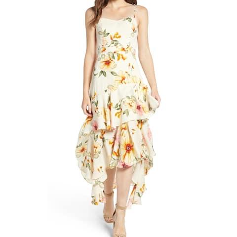 Leith Yellow Floral Print Chiffon Ruffled XL Shift Slip Dress
