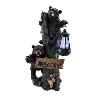 Little Rascals Climbing Bear Cubs Solar Light Welcome Statue - Black