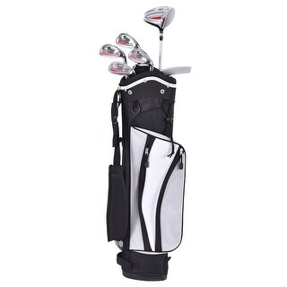 Gymax 6 Piece Golf Club Set for Kids Wood Iron Putter Silver