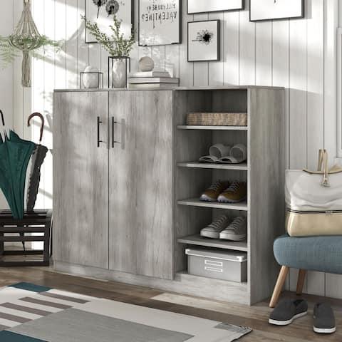 Hoover Vintage Gray Oak Modern Farmhouse Shoe Cabinet
