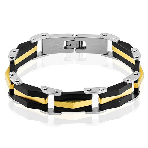 Two Tone Black and Gold IP 316L Stainless Steel Link Bracelet (12 mm) - 8.25 in