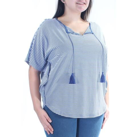 AMERICAN LIVING Womens Blue Striped Dolman Sleeve PONCHO Top Size L