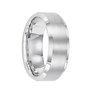 FORREST Polished Beveled Edge Satin Finish White Tungsten Carbide Comfort Fit Wedding Band by Triton Rings - 8 mm