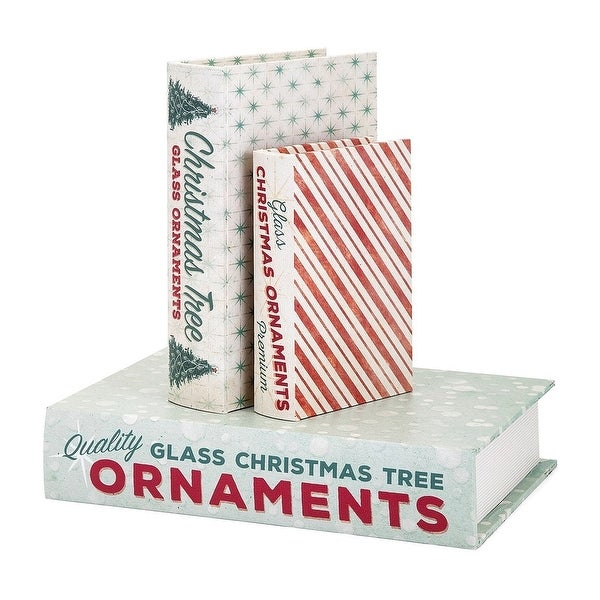 "Set of 3 Red Homestead Christmas Vintage Book Boxes 12.5"" - N/A"