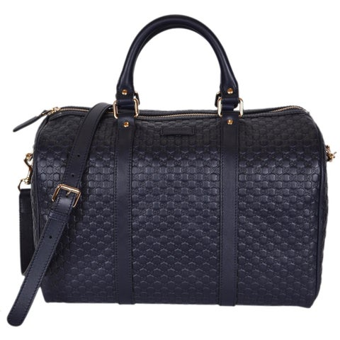 "Gucci Blue Leather 449646 Micro GG Guccissima Boston Bag Satchel W/Strap - Navy Blue - 13"" x 9.5"" x 7"""