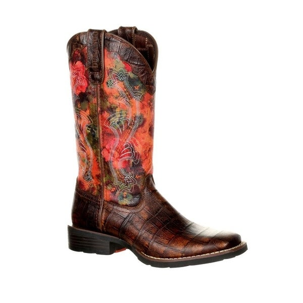 Durango Western Boots Womens Faux Exotic Mustang Floral Rose