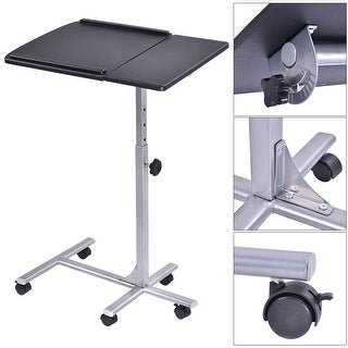 Costway Adjustable Angle & Height Rolling Laptop Notebook Desk Stand Over Sofa Bed Table