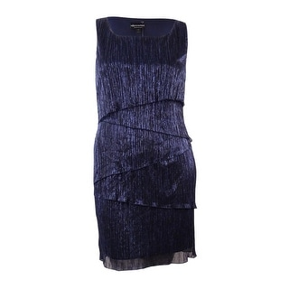 Connected Women's Metallic Tiered Sleeveless Dress (14, Navy)