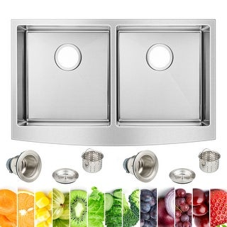 Link to 33 in. W x 20 in. L Farmhouse Apron Front Double Bowl Kitchen Sink in Stainless Steel Similar Items in Sinks