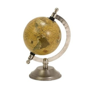 "8"" Antiqued Desk or Office Globe with Nickel Finish Base"