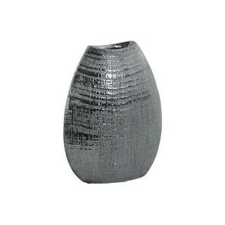 Ceramic Biconvex Crescent Ribbed Design Vase, Distressed Silver Finish