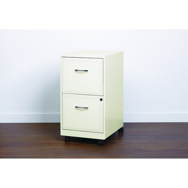 Space Solutions Pearl White 2-drawer Mobile File Cabinet. Opens flyout.