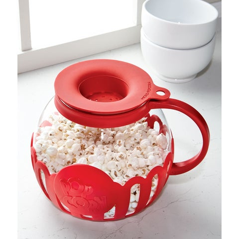 HIC Harold Import Micro-Pop Microwave Popcorn Maker - Food Safe Glass and Silicone Carafe
