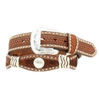 Nocona Western Belt Mens Scallop Stud Conchos Hair Brown