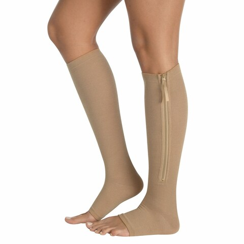 Women's Zip Up Compression Socks - Firm Support Gel Foot Bed