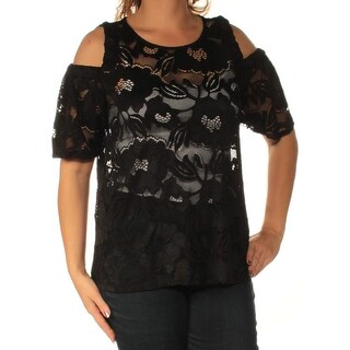 INC $59 Womens New 1385 Black Cold Shoulder Lace Short Sleeve Top L B+B