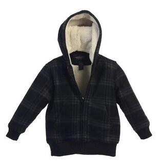 Boys Black Plaid Sherpa Lining Hooded Flannel Jacket 8-16