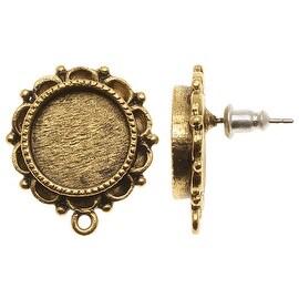 Nunn Design Antiqued 24kt Gold Plated Ornate Round Bezel Earring Post 13mm (2)