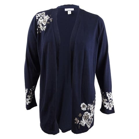 Charter Club Women's Plus Size Floral Jacquard Cardigan (1X, Deepest Navy Combo) - Deepest Navy Combo - 1X