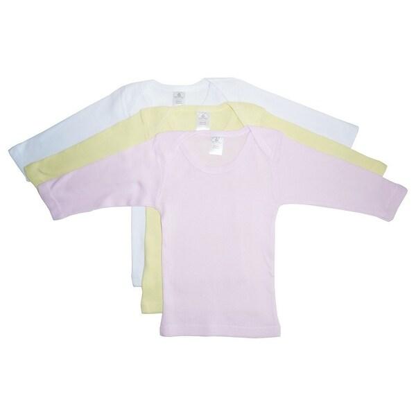 Bambini Baby Girls Pink Yellow White Long Sleeve Lap 3-Pack T-Shirts