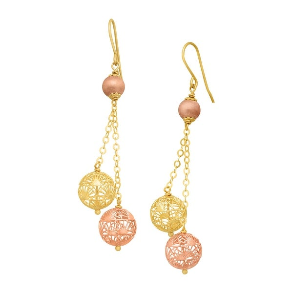 Just Gold Filigree Cage Dangle Earrings in 14K Yellow & Rose Gold