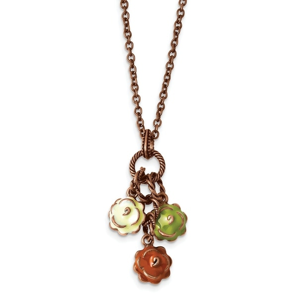 Copper Enamel Flowers Necklace - 16in