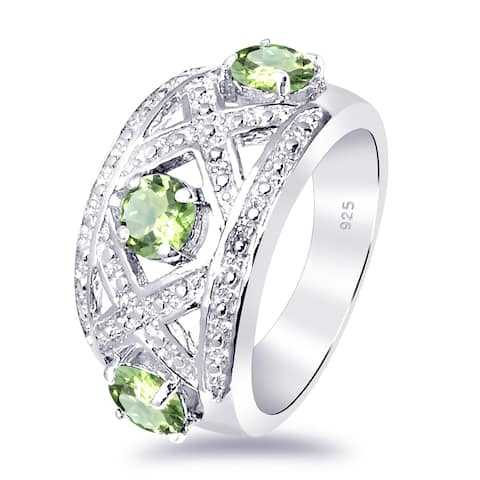 Peridot Sterling Silver Round Promise Ring by Orchid Jewelry