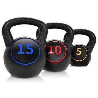 Gymax 3PC Vinyl Kettlebell Kit Body Muscles Training Weights Set - as pic