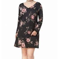 BCX Gray Women's Size 2X Plus Rose-Print Lace-Up-Back Shift Dress