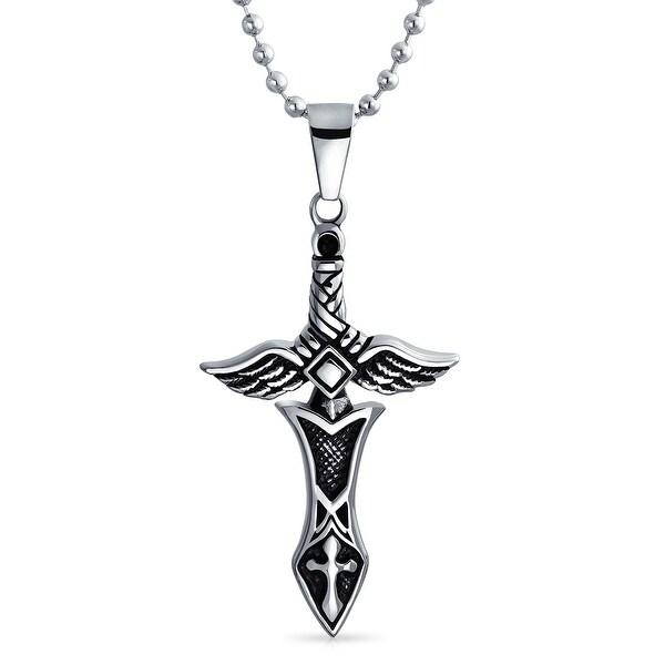 d4f4a363fb2 ... Men s Jewelry     Men s Necklaces. Mens Stainless Steel Angel Wing Sword  Cross Pendant