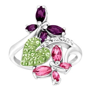 Crystaluxe Butterfly & Leaf Ring with Swarovski Elements Crystals in Sterling Silver - Green
