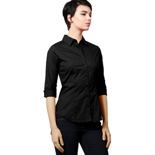 NE PEOPLE Women's Simple 3/4 Sleeved Button Down Collared Shirts