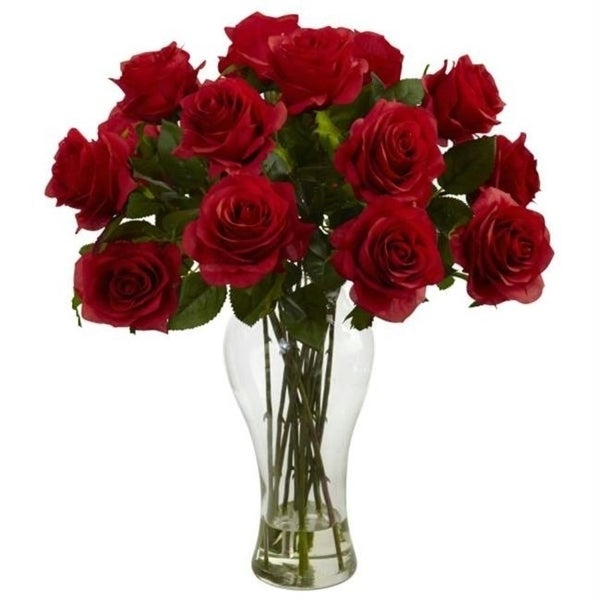 Nearly Natural 1328-RD Blooming Roses with Vase