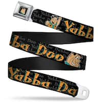 Fred Face Full Color Black Fred Face Pose Yabba Dabba Doo Black Gray Orange Seatbelt Belt