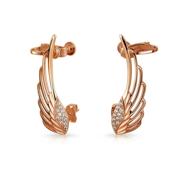 2968f0714 Shop Guardian Angel Wing Feather Cartilage Right Ear Cuff Wrap Climber  Helix Earring Rose Gold Plate Brass Adjustable Screw - On Sale - Free  Shipping On ...
