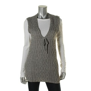 14th & Union Womens Petites Cable Knit Sleeveless Sweaterdress - XS
