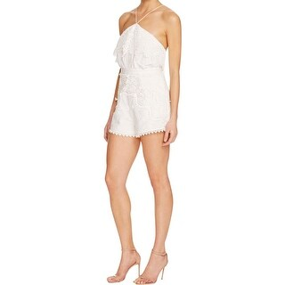The Jetset Diaries Womens Paradise Romper Embroidered Lace-Trim