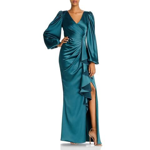 Aidan Mattox Womens Leg of Mutton Formal Dress Satin Faux Wrap - Forest