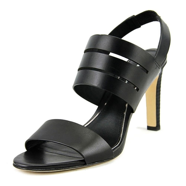 Elie Tahari Highland Women Open-Toe Leather Black Slingback Heel