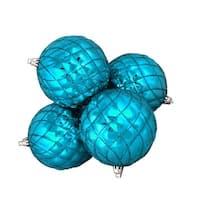 "4ct Shiny Turquoise Blue Diamond Shatterproof Christmas Ball Ornaments 3.75"""