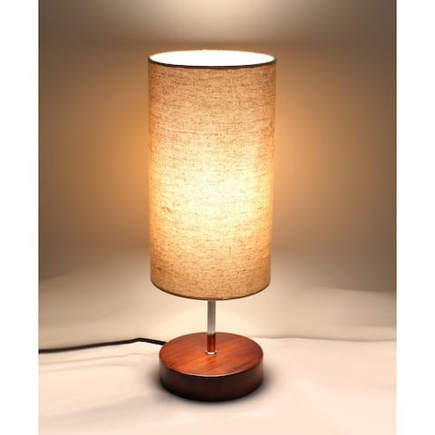Kanstar Fine-Textured Wooden Table Lamp, Round
