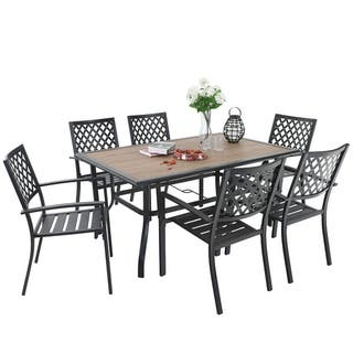 "PHI VILLA 7 Piece Outdoor Patio Furniture 37.4"" x 59.8"" Wood Like Rectangular Dining Table and Chairs"