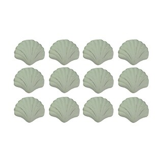 Set of 12 Distressed Finish Coastal White Cast Iron Scallop Shell Drawer Pulls