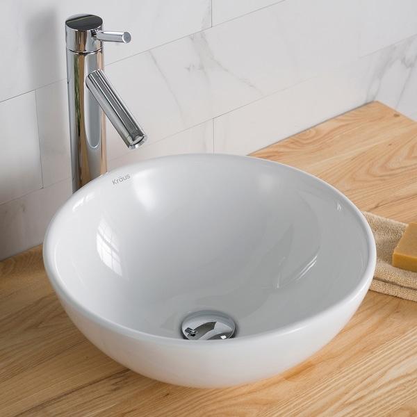 Kraus Elavo 16 inch Round Porcelain Ceramic Vessel Bathroom Sink. Opens flyout.