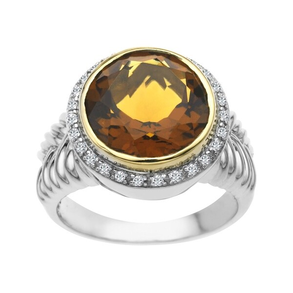 6 3/4 ct Whiskey Quartz and 1/8 ct Diamond Ring in Sterling Silver and 14K Gold