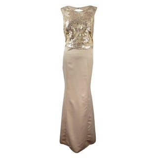 Patra Women's Illusion Sequined Lace Satin Gown - Gold