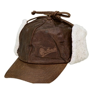 Outback Trading Hat Mens Leather McKinley Ear Flap Baseball Brown 1451