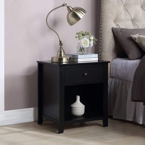 Traditional Design 1 Drawer Solid Wood Nightstand-White/Black/Brown