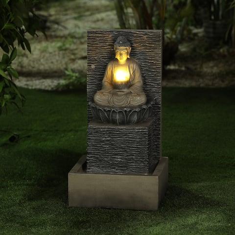 Lighted Resin Meditating Buddha on Pedestal Patio Fountain